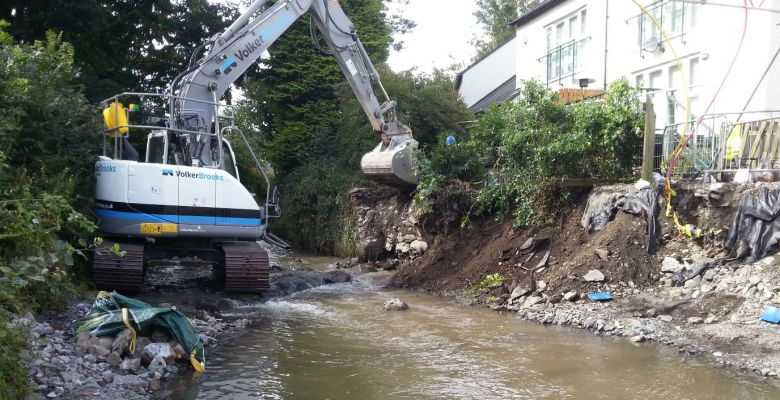 Flood Alleviation, rivers, digger